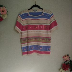 VTG Chunky Knit Floral Applique Stripe Sweater Top